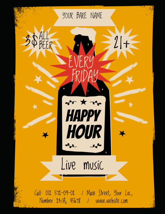 Vintage Happy Hour Poster Folheto (US Letter) template