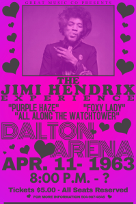 Vintage Heart Rock Music Pink Purple Party Parchment Old Bar