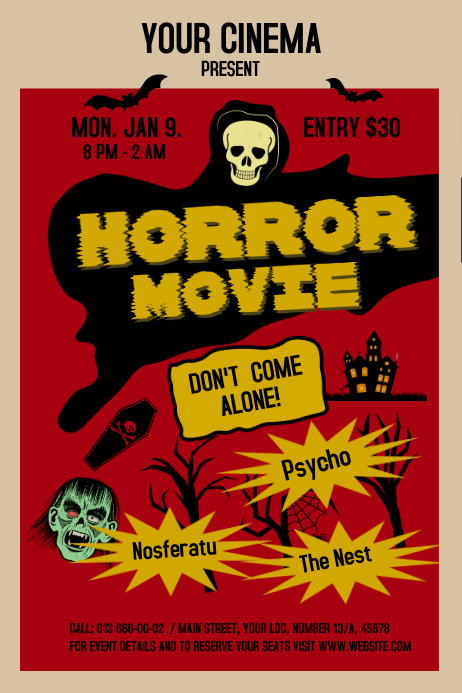 vintage horror movie poster template postermywall