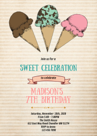Vintage Ice cream birthday party invitation