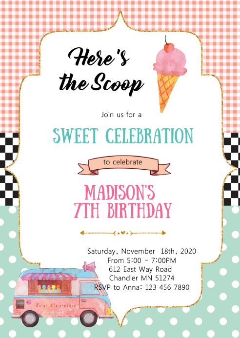 Vintage ice cream birthday party invitation