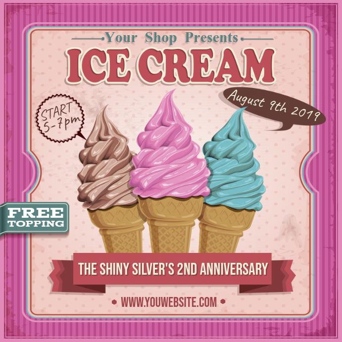 Vintage Ice Cream Social Ad Instagram Post template