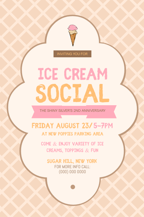 Vintage Ice Cream Social Poster template