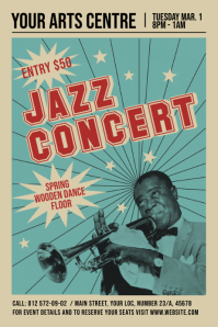 Vintage Jazz Concert Poster Плакат template