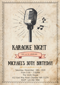 Vintage karaoke birthday party invitation