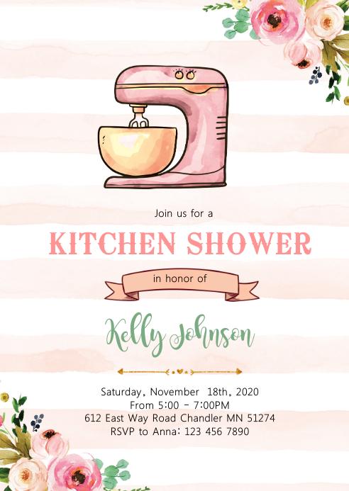Vintage kitchen shower party invitation A6 template