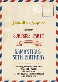 Vintage letter theme party invitation A6 template