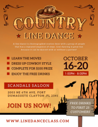 Vintage Line Dancing Cowboy Contest Flyer Tem Pamflet (Letter AS) template