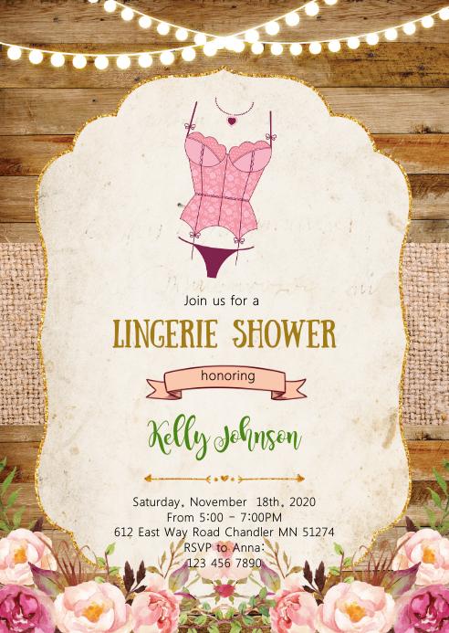 Vintage Lingerie shower party invitation