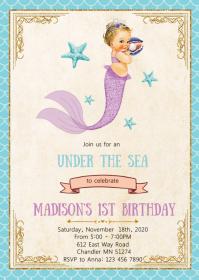 Vintage mermaid birthday party invitation