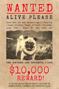 Vintage Missing Pet Poster template