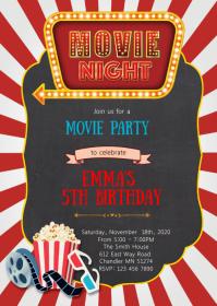 Vintage Movie birthday party invitation A6 template