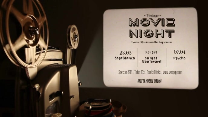 Vintage Movie Night Event Facebook Cover Video Template Facebook-covervideo (16:9)