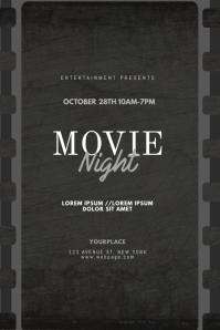 Vintage Movie Night Flyer Design Template