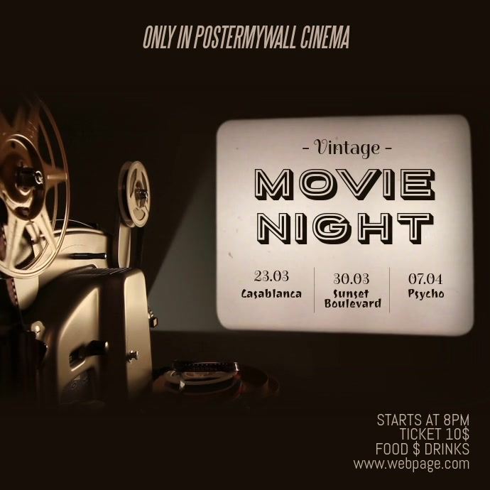 Vintage Movie Night Instagram Video Template | PosterMyWall