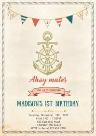 Vintage nautical anchor birthday invitation