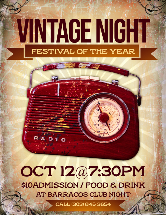 Vintage Night Flyer Volante (Carta US) template