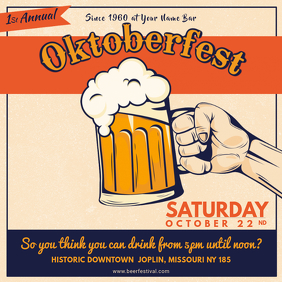 Vintage Oktoberfest Event Invitation Square Ad Template