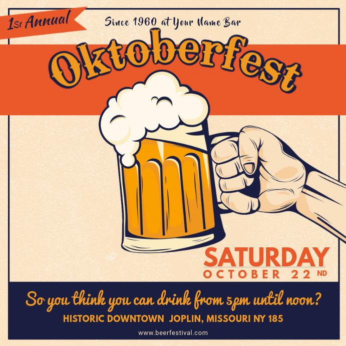 Vintage Oktoberfest Event Invitation Square Ad Template