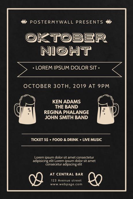 Vintage Oktoberfest Flyer Design Template Poster