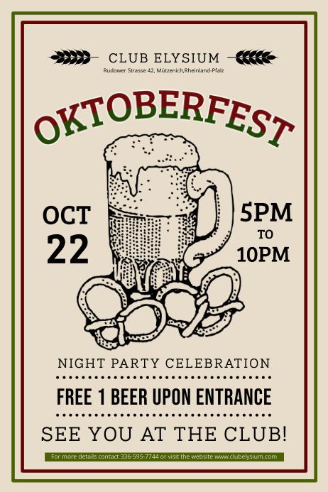 Vintage Oktoberfest Bedruckbare Poster Vorlage-Vorlage | PosterMyWall