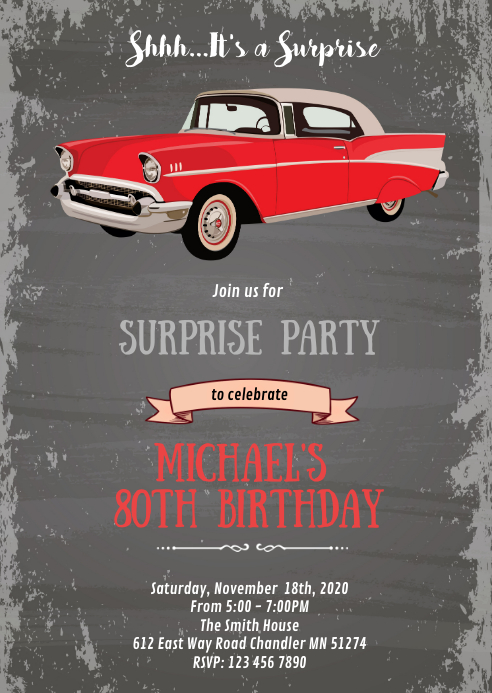Vintage old car birthday theme invitation A6 template