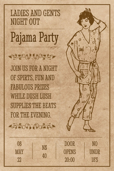 vintage pajama party poster template postermywall