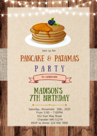 Vintage pancake invitation A6 template