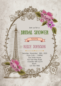 Vintage Paris shower party invitation