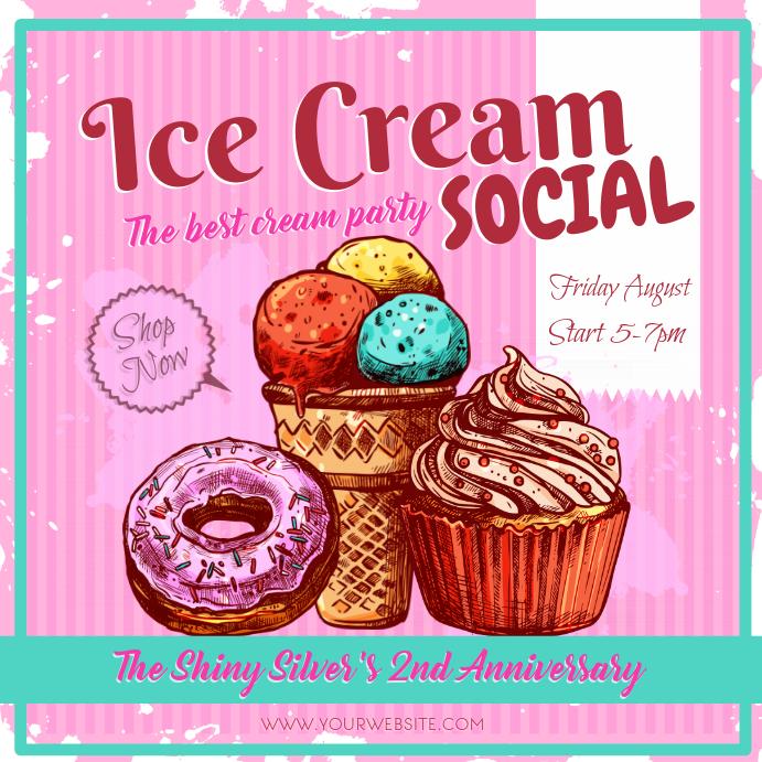 Vintage Pink Ice Cream Social Ad