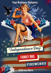 Vintage PinUp 4th of July A1 template