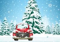 Vintage Red Truck Christmas greeting Card Postkort template