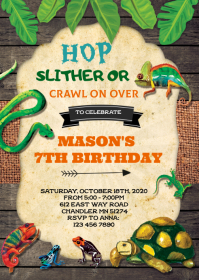 Vintage reptile birthday invitation