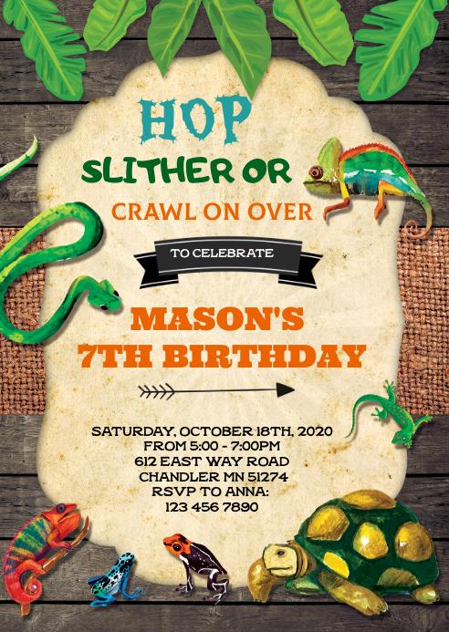 Vintage reptile birthday invitation