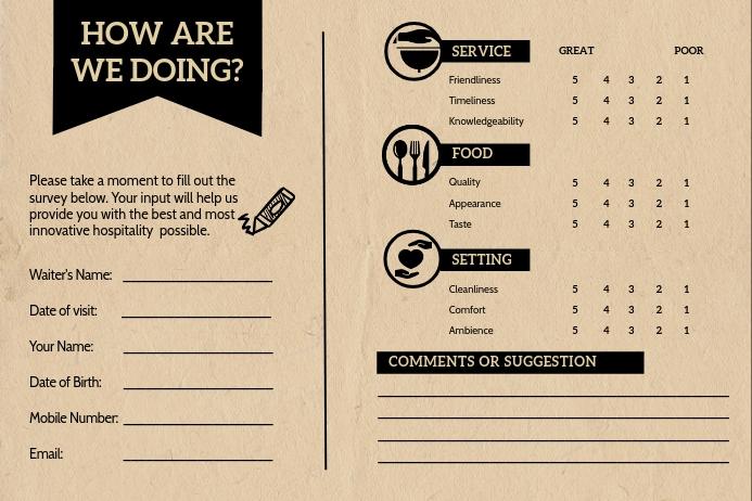 Vintage Restaurant Comment Card Etiket template
