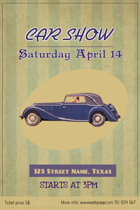 vintage retro car show poster template