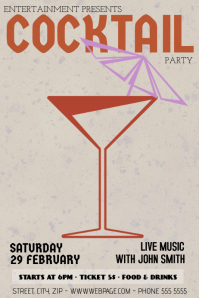 vintage retro coctail party bar flyer template