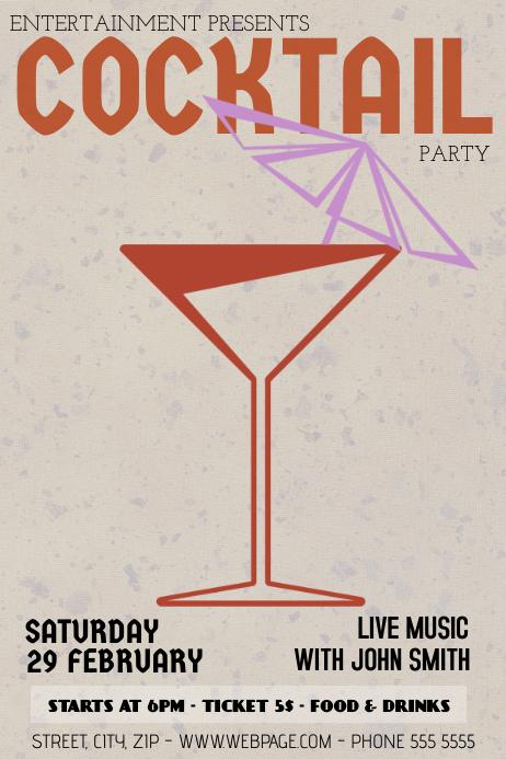 vintage retro coctail party bar flyer template