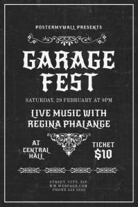 Vintage Retro Garage Fest Band Flyer Template