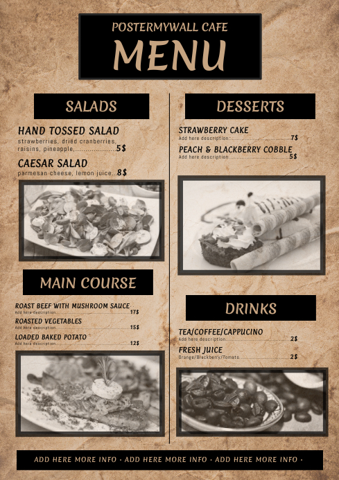 Vintage Retro Menu Template