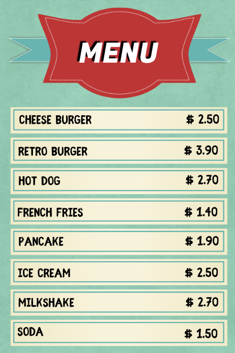 Vintage Retro Menu Template Poster