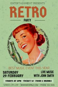 vintage retro party bar flyer template