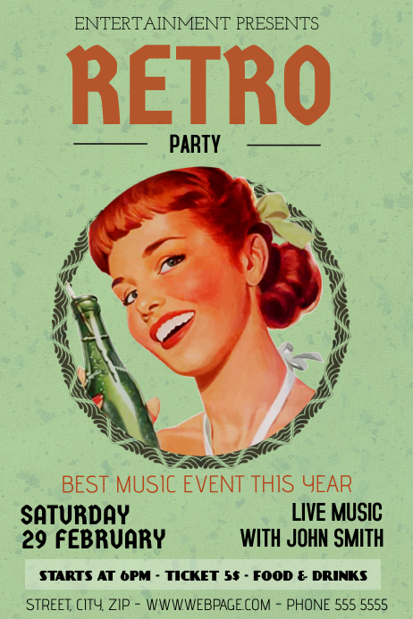 vintage retro party bar flyer template Cartaz