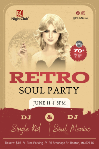 Vintage Retro Soul Party Poster template