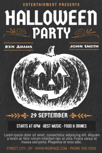 Vintage Retro Style halloween party poster template