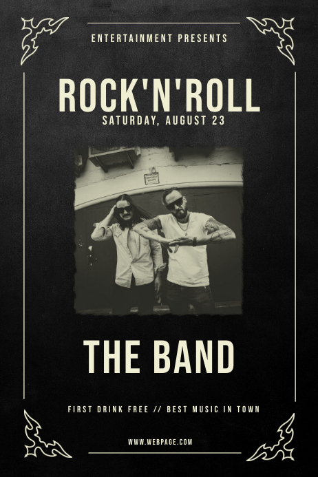 Vintage Rock'n'roll Flyer Poster Template Póster