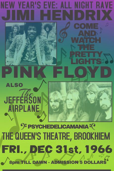 vintage rock venue style simple 1970 1960 poster music template