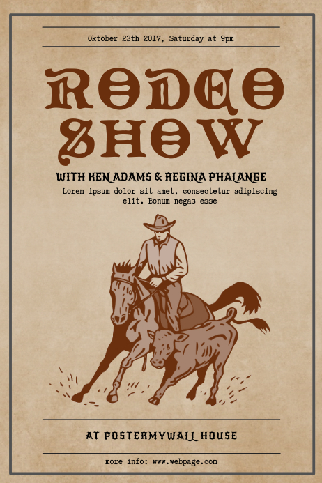Vintage Rodeo Show Flyer Template Cartaz