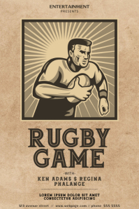 Vintage Rugby Game Flyer Template Плакат