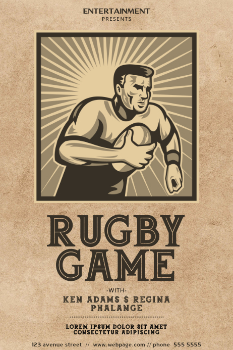 Vintage Rugby Game Flyer Template Póster
